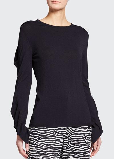 Arabba Ruffle-Sleeve Jersey Top