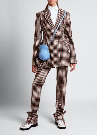 Checked Wool Peplum Jacket