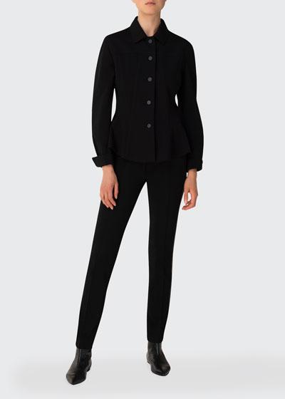 Kent-Collar Jersey Button-Up Jacket
