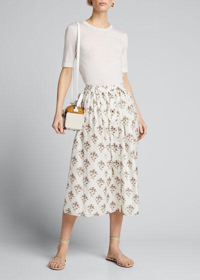 Floral High-Waist Pleated Skirt