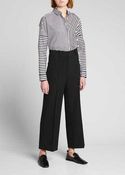 Cropped Wide-Leg Stretch Crepe Pants with Piping