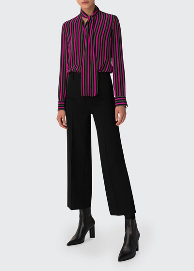 Neon Pink Silk Stripe Blouse with Neck Tie