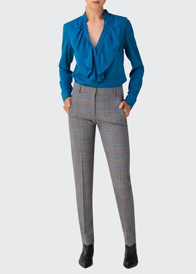 Ruffle Long-Sleeve Silk Blouse