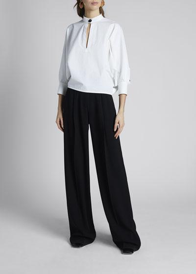 3/4-Sleeve Poplin Banded-Collar Blouse