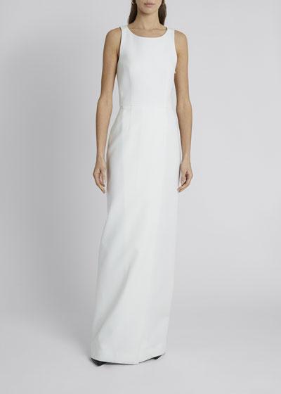 Crepe Slit-Back Column Gown