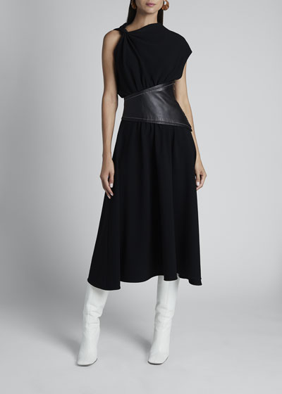 Asymmetric Leather-Waist Dress