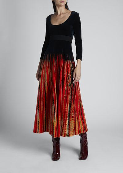 Tie-Dyed Velvet Jersey Dress