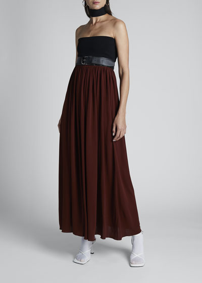 Strapless Two-Tone Jersey Maxi Dress