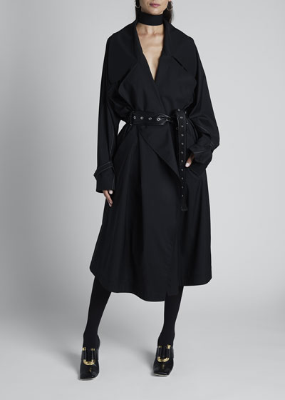 Wool Double-Breasted Trench Coat