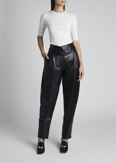 Leather High-Rise Exaggerated Pants