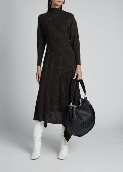 Wavy Jacquard High-Neck Dress