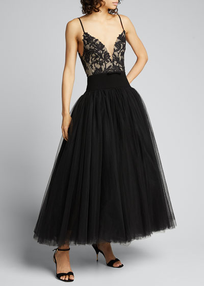 Embroidered Lace Bodice Cocktail Dress