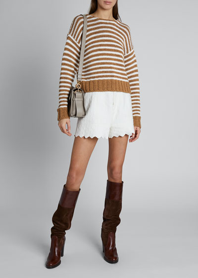 Striped Chunky Summer Knit Sweater w/ Lace-Up Back