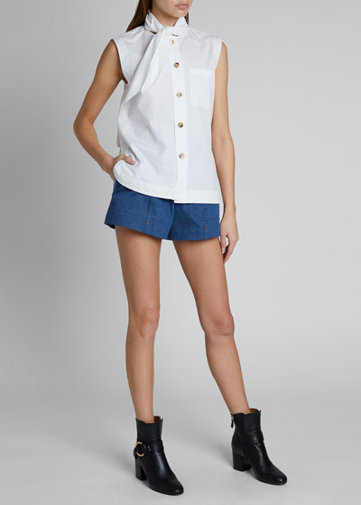 Tie-Neck Sleeveless Button-Front Cotton Poplin Top
