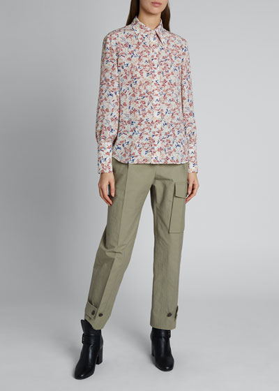 Floral Silk Pointed-Collar Shirt