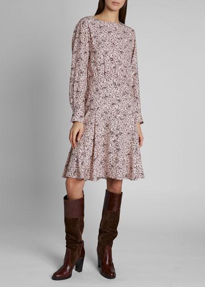 Bird Print Long-Sleeve Crewneck Silk Dress
