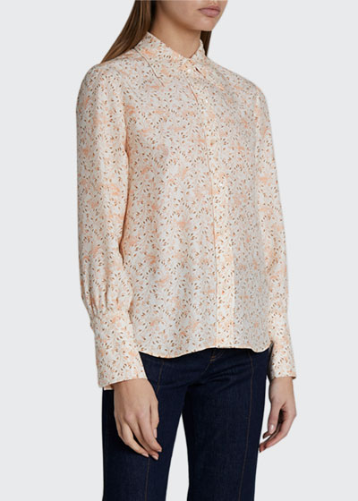 Bird Print Collared Button-Front Top