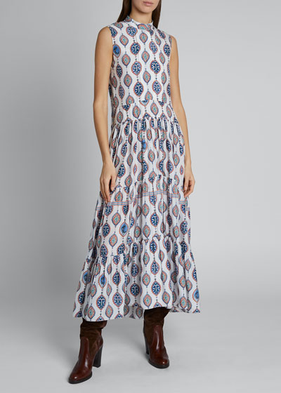 Ceramic Print Sleeveless Silk Maxi Dress