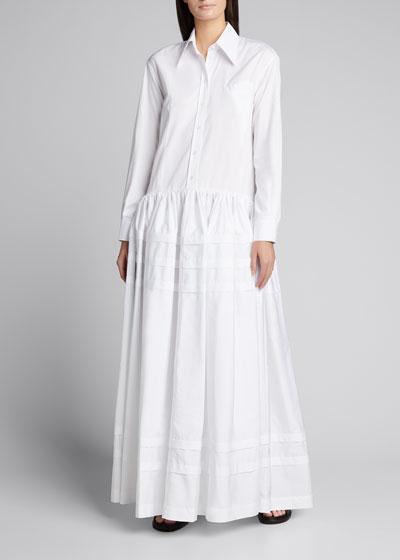 Drop-Waist Pleated Cotton Maxi Dress