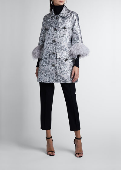 Feather-Sleeve Metallic Coat