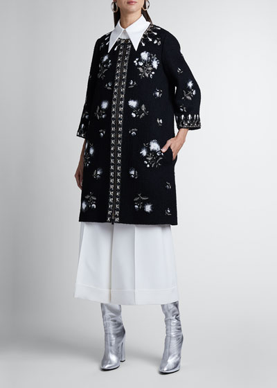 Embellished Wool Open-Front Coat