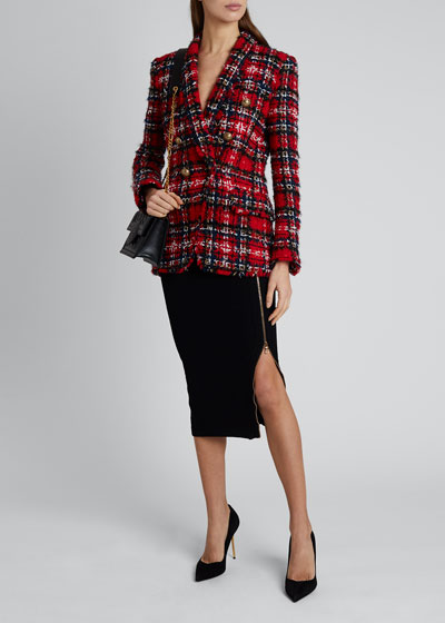Oversize Tartan Tweed 6-Button Jacket