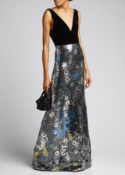 Velour Sequined Gown