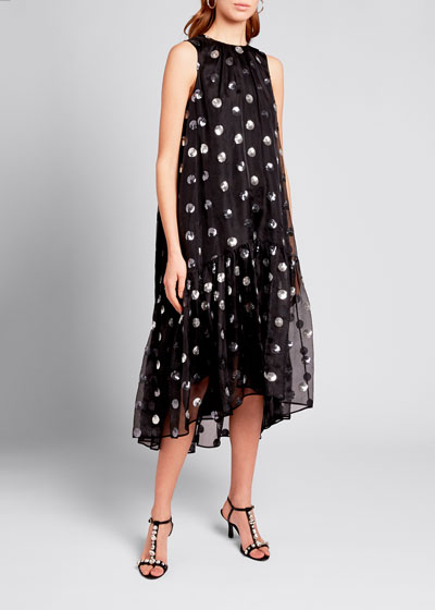 Sequin-Dotted Silk Chiffon Dress