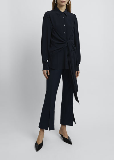 Collared Tie-Front Long-Sleeve Blouse