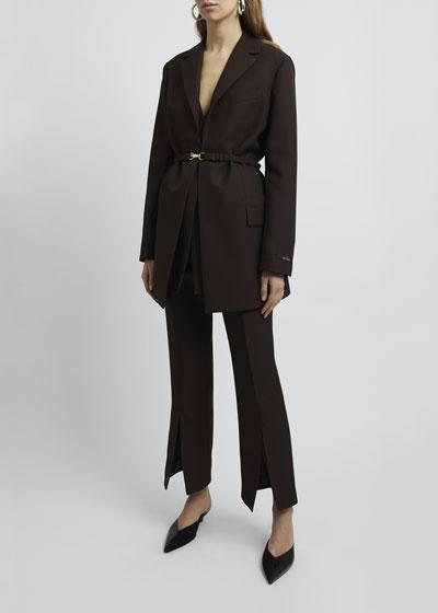 Belted Long-Sleeve Crepe Blazer Jacket