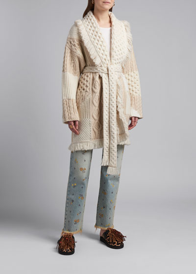 Cashmere-Wool Quilted Cardigan