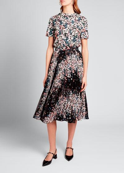 Floral Print Plisse Midi Skirt