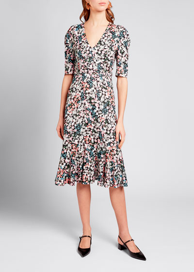 Floral Print Jersey Button-Front Dress