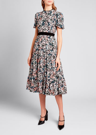 Floral Print Flutter-Sleeve Midi Dress