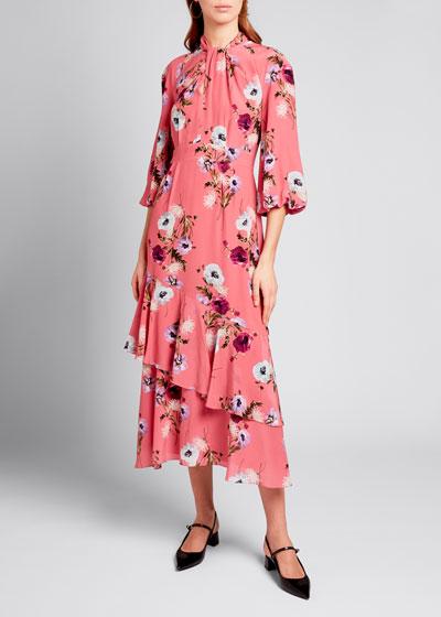 Floral Twist-Neck Midi Dress