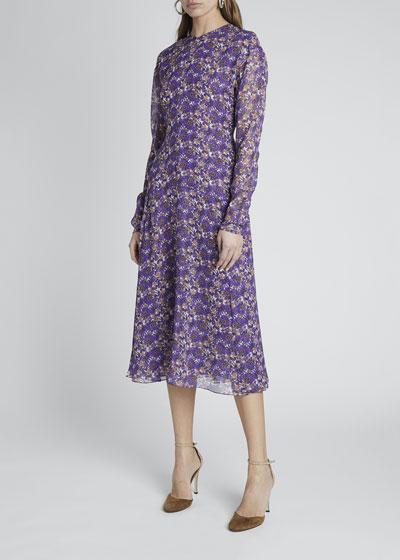 Floral Crewneck A-Line Dress