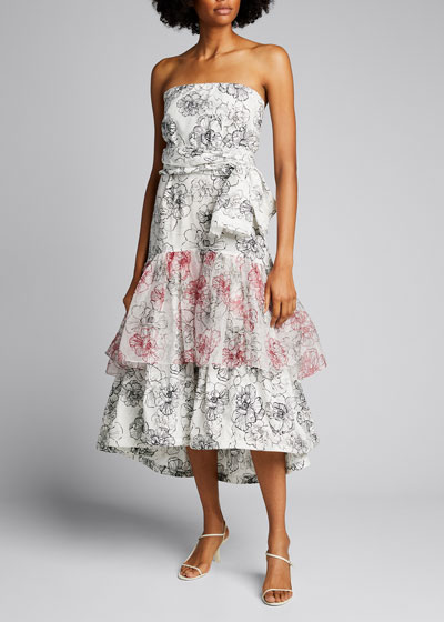 Floral Strapless Square-Neck Ruffle Hem Dress