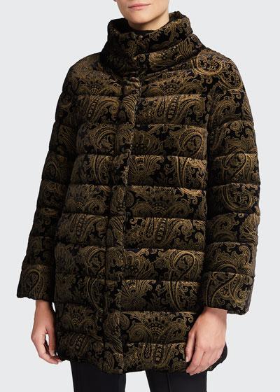 Metallic Paisley Devore Down Puffer Jacket