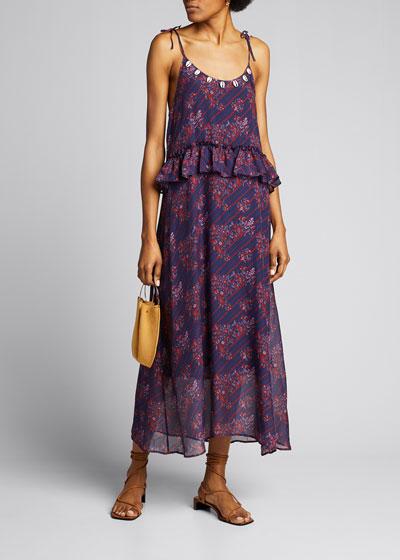 Alina Paisley Print Silk Midi Dress with Puka Shell Trim