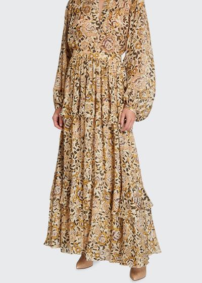 Floral Tonal-Stripe Metallic Georgette Skirt