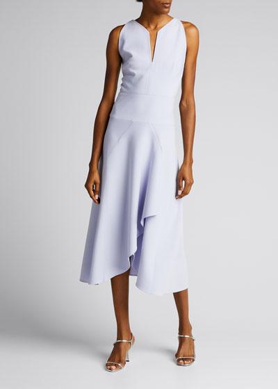Jackson Slit-Neck Faux-Wrap Midi Dress