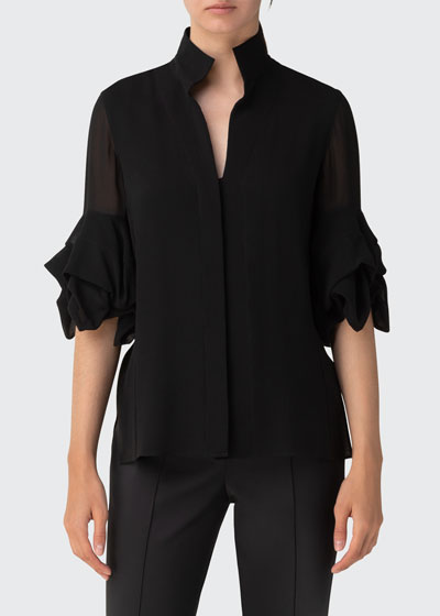 Tiered-Sleeve Button-Front Collared Blouse