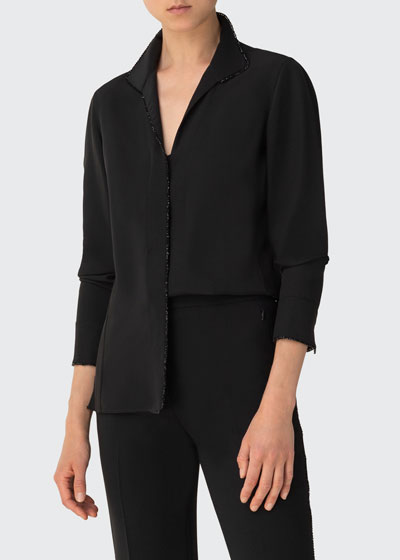 Crystal-Trim Collared Button-Front Blouse