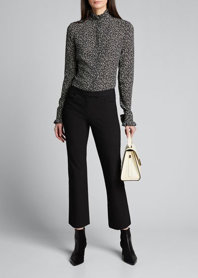 Silk Mock-Neck Blouse