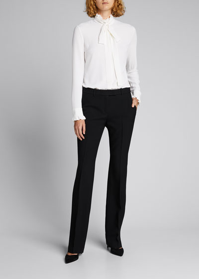 Mock-Neck Blouse with Neck Tie