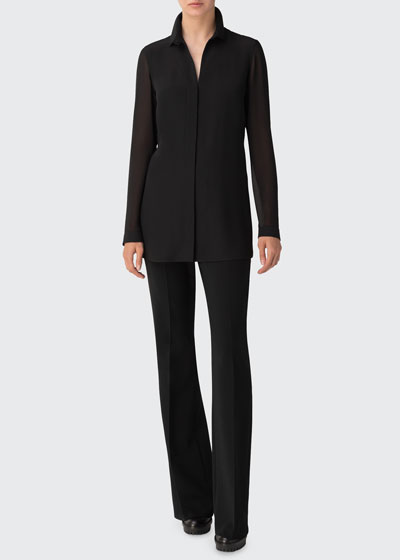 Tunic Swarovski Cuff Silk Blouse