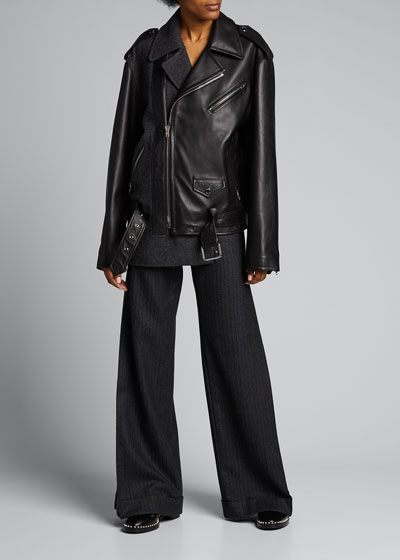 Herringbone/Leather Combo Moto Jacket