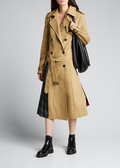 Trench Coat with Pleated Plaid Back