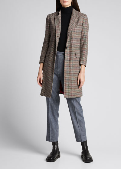 Gingham High-Collar Wool-Cashmere Coat