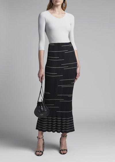 Graphic Jacquard Plisse Maxi Skirt